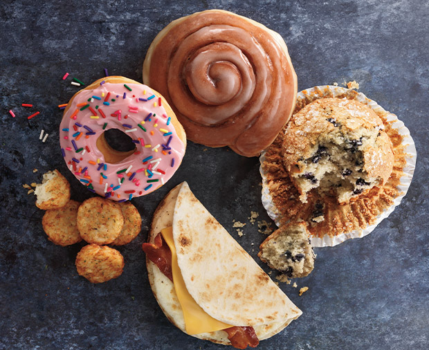 A variety of delicious Dunkin' Donuts bakery & snack items.