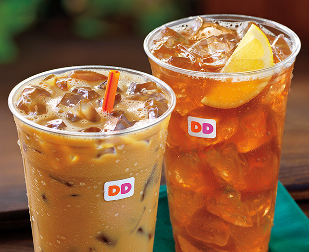 Two Dunkin' Donuts iced drinks.